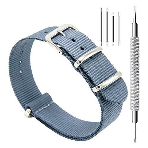 CIVO HY00058 Watch Bands NATO Premium Ballistic Nylon Watch Strap Stainless Steel Buckle, 22mm, Smoke Grey
