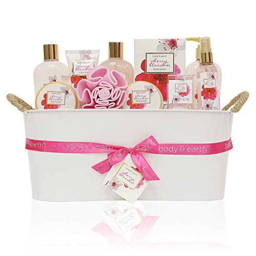 Gift Baskets for Women, Body & Earth Bath Gifts for Women, Luxurious Spa Gift Set for Her, Cherry Blossom 11pc set, Best Birthday Gift Idea - Popular items