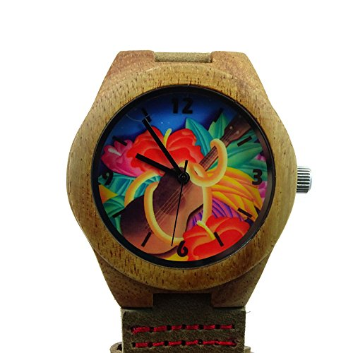 Price comparison product image Handmade Kahala Wooden Watch Made With Natural Acacia Koa Wood with Hawaiian Ukulele Artwork - HGW-205