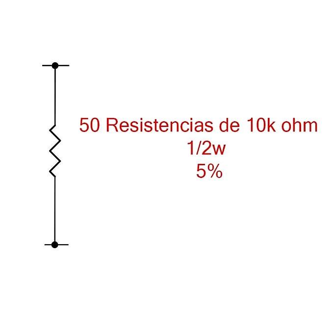 50X Resistencias Pelicula metalica 10K Ohm 1/2W 5%: Amazon.es: Electrónica
