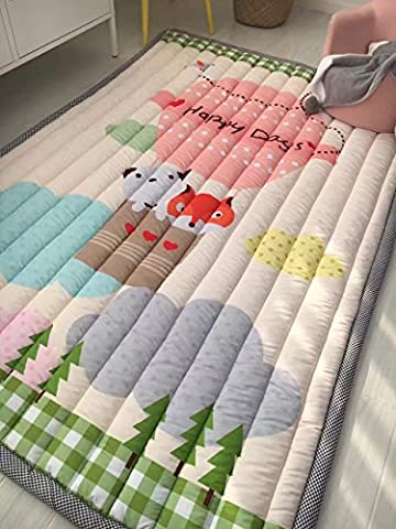 VClife Cute Cartoon Fox Dog Design Area Rugs Environmental Anti-slip Home Decoration Bedroom/Living Room Carpet Yoga Mat Baby Crawling Mats Kids Play Mat Machine Washable (Carpet Washable)