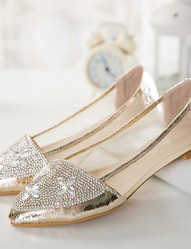 PDX/ Damenschuhe Tüll Flacher Absatz Spitzschuh/Geschlossene Zehe Ballerinas Lässig Schwarz/Silber/Gold , golden-us9 / eu40 / uk7 / cn41 , golden-us9 / eu40 / uk7 / cn41