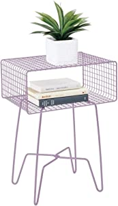 mDesign Modern Farmhouse Side/End Table - Metal Grid Design - Open Storage Shelf Basket, Hairpin Legs - Vintage, Rustic, Industrial Home Decor Accent Furniture for Living Room, Bedroom - Light Purple