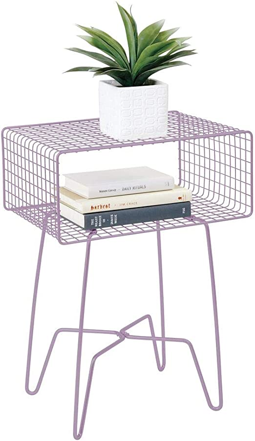 mDesign Mesita auxiliar de metal pequeña – Elegante mesa auxiliar ...