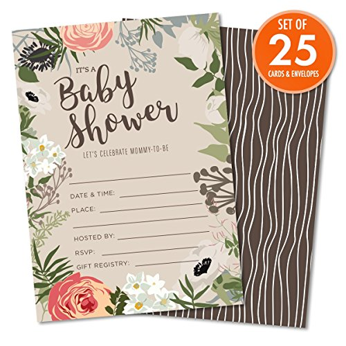 "Way Baby Shower (Floral Baby Shower Set of 25 Fill-In Invitations with Envelopes, Gender-Neutral Tan, Light Brown, 4.25"" x 6"" Printed on Heavy 140lb Card Stock, Celebrate the Little One On the Way)"