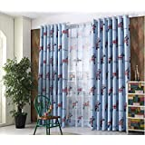 GFYWZ Children curtains Polyester Print Fabrics Thickness Blackout Noise Reducting Durable Home Decor Window Drapes , blue , A