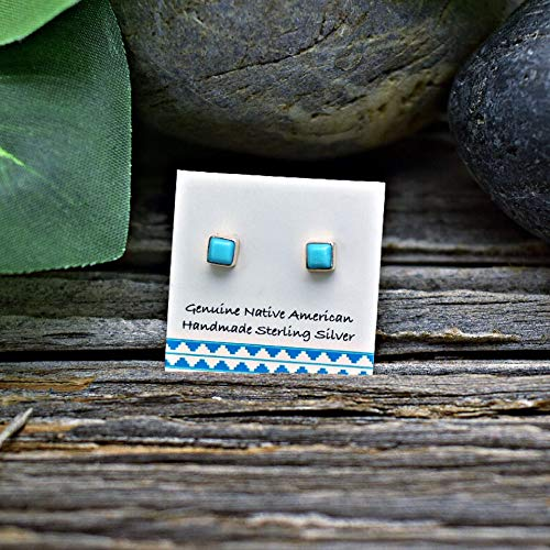 (3mm Genuine Sleeping Beauty Turquoise Stud Earrings in 925 Sterling Silver, Square Style, Authentic Native American, Handmade in the USA, Nickle Free)