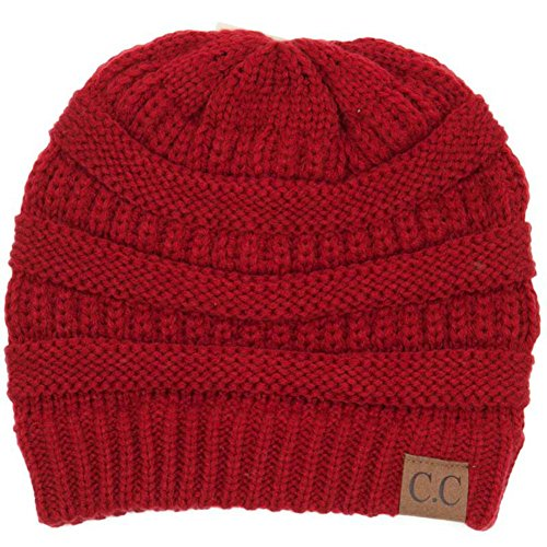 Plum Feathers Soft Stretch Chunky Cable Knit Slouchy Beanie Hat ()