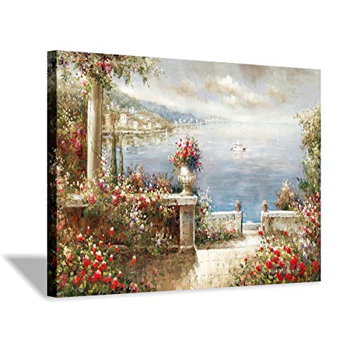 Landscape Decor Picture Canvas Print - Lakeside View Artwork Painting for Wall Art (View Coastal Wall Art)