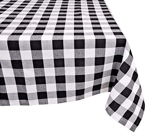 (Yourtablecloth 100% Cotton Checkered Buffalo Plaid Tablecloth -for Home, Restaurants, Cafés - Be it for Everyday Dinner Picnic or Occasions Like Thanksgiving, 52x52 Square Black and White)
