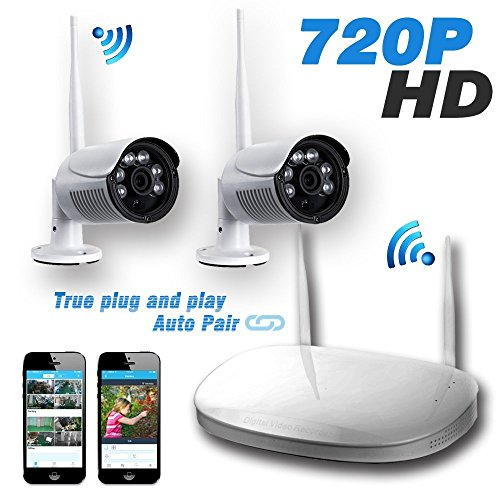 Cctv Kit - Ipccam 2PCs 720P Outdoor Bullet Camera with 4CH 1080P Output WiFi Wireless Security CCTV Surveillance System Network Video Recorder NVR Kit 25M Infrared Radiation IR Night Vision (No Hard Drive)