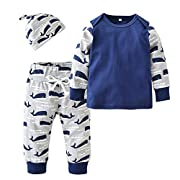 Baby Boys'3 Piece Long Sleeve Cartoon Whale Tops Pants Clothing Set With Hat (60(0-6 Months))