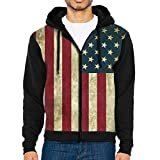 Men's Vintage American Flag Full Zip Up Hooded Sweatshirt with Pocket