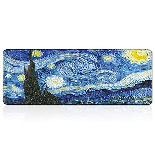 Soexyaper Extended Large Gaming Mouse Pad, Anti-Slip Rubber Base, Durable Stitched Edges, Waterproof & Foldable Mat for Desktop, Laptop, Keyboard (Van Gogh's Starry Night)