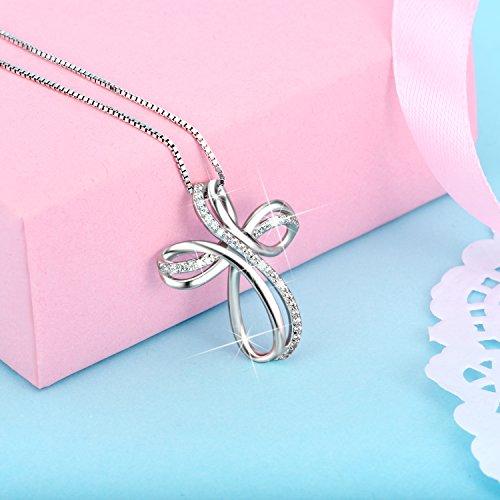 POPLYKE Cross Necklace Sterling Silver Infinity Loop Cross Pendant Necklace Jewelry for Women Men Girls Boys by POPLYKE (Image #3)