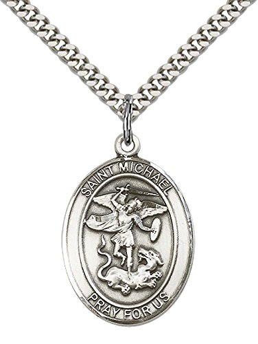 Heavy Sterling Pendant (Sterling Silver St. Michael the Archangel Pendant with 24