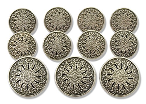 antique-silver-finished-geometric-filigree-11-piece-metal-blazer-button-set-