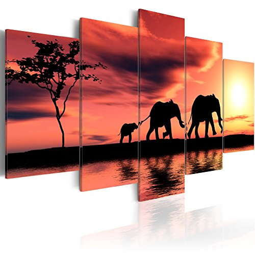 Konda Art Landscape Painting Sunset Yellow African Art Wall Decor Canvas HD Picture Print Large Elephant Framily Artwork for Living Room Framed and Ready to hang (W80 x H40)