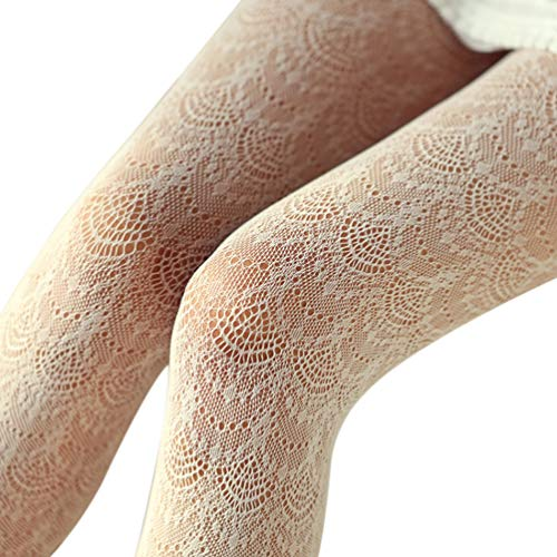 EachEver Women Fishnet Hollow Out Chiffon Lace Stockings Tights Vertical Strips Pantyhose Ivory 2 ()