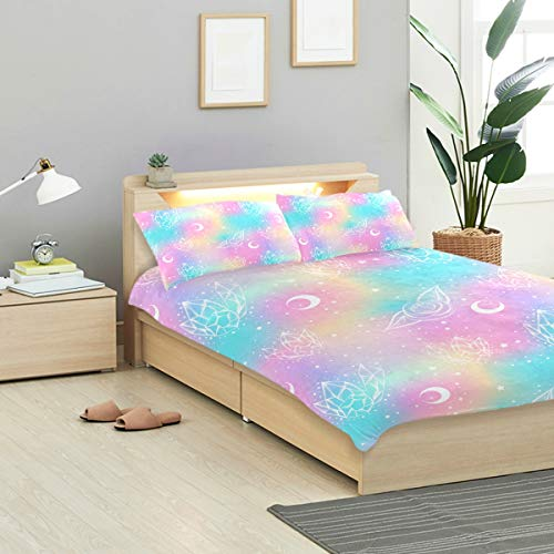 CANCAKA, Childish Galaxy Pattern Roses Crystals, Design Bedding Decoration 3 PC Sets 1 Duvet Cover with 2 Pillow Shams Twin Size Soft Microfiber Bedding Set Bedroom Decor Dorm Accessories (Dorm Bedding Accessories)