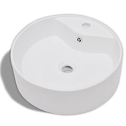 vidaXL Lavandino Lavello bagno in Ceramica bianca rotondo con Foro ...