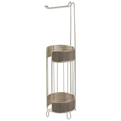 interdesign twillo toilettenpapierhalter edler wc rollenhalter fr ersatzrollen mit kunstoffgeflecht freistehender klorollenhalter fr 3 - Moderner Freistehender Toilettenpapierhalter
