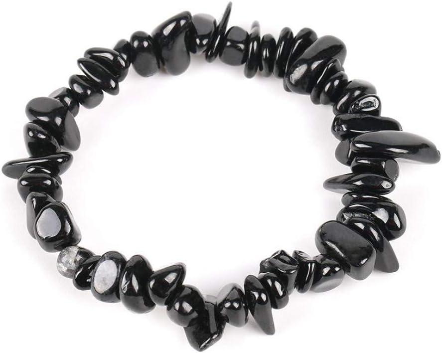 LCXZMA Gem Stone Natural Chip Beads Pulseras De Turmalina Negra para Mujer Regalo De Curación De Reiki De Tamaño Pequeño