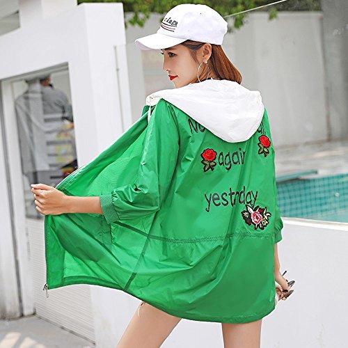 QFFL fangshaifu 刺繍ロングセクションルースサンプロテクションウェア/女性フード付き薄型シンプルカーディガン/プリントアウトドアファッションサンスクリーンショール(3色オプション) (色 : 緑, サイズ さいず : M)