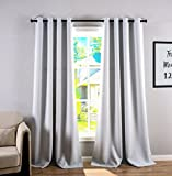 93 curtain panel grommet - HOPE BEST Thermal Insulated Blackout Curtains Grommet Panel Room Darkening for Living Room and Bedroom 1 Panel Greyish White 52x95 Inch