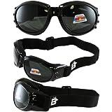 Birdz Eyewear Eagle Motorcycle Goggles (Black Frame/Polarised Smoke Lens)