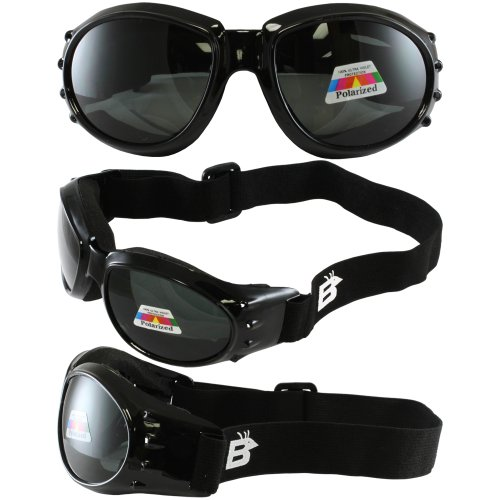 Birdz Eyewear Eagle Motorcycle Goggles (Black Frame/Polarised Smoke - Lenses Polarised