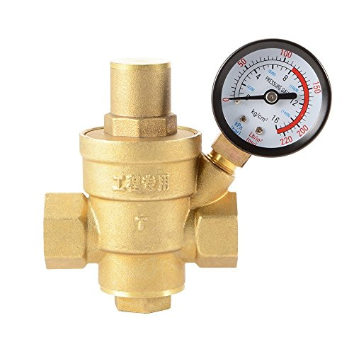 "XCSOURCE Water Pressure Regulator Brass Lead-free Adjustable 1/2"" 15mm Water Pressure Reducer Reducing Valve with Pressure Gauge Bar/Psi HS918"