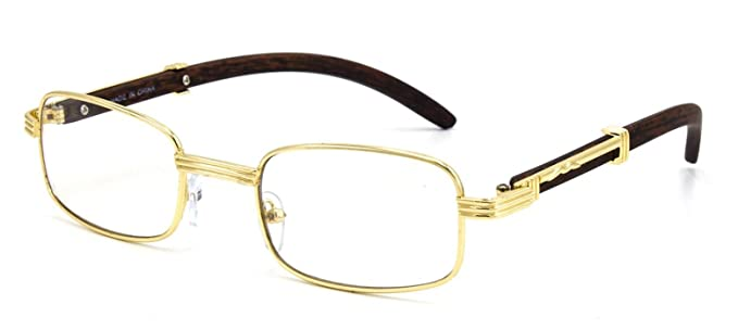 1ba8590fa1 CY SUN Mens CLASSY Style Clear Lens EYE GLASSES Wooden Print Square Gold  Frame (Brown