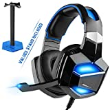 Plug and Play, G-Cord USB Digital Gaming Headset with Stand, 7.1 Surround Sound Over-Ear Headphones with Noise Cancelling Microphone for PS4 PC Laptop, LED Light, Soft Memory Comfortable Earmuffs.
