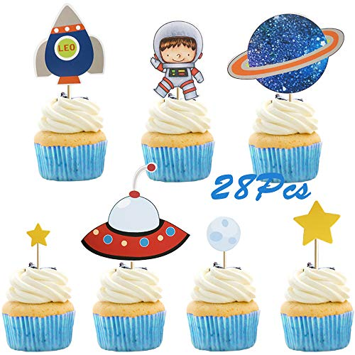 - 28Pcs Astronaut Exploration Series Space Shuttle UFO Rocket Star Cupcake Toppers for Kids Birthday Party Favors