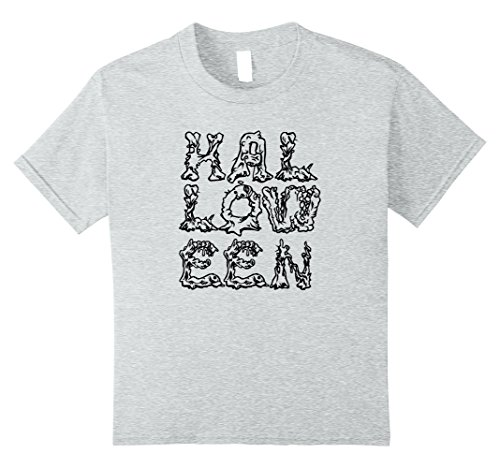 Kids Creepy and Grotesque Halloween Shirt | Black Font 10 Heather (Odd Halloween Candy)