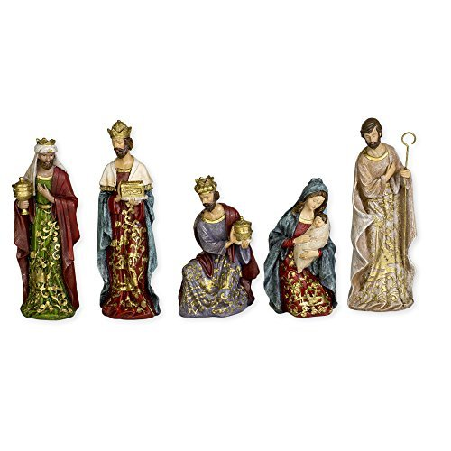 Goldleaf Holy Family and Three Kings Ceramic Christmas Nativity Figurine Set of 5 by Roman