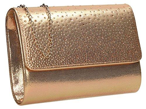 Natalie Diamante Metallic Womens Party Prom Ladies Clutch Bag - Gold