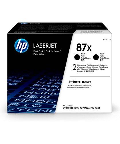 HP 87X (CF287X) Black Toner Cartridge High Yield, 2 Toner Cartridges (CF287XD) by HP