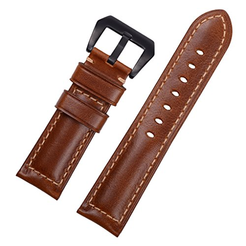 EACHE 20mm 22mm 24mm Genuine Leather Watch Band Replacement Wrist Straps