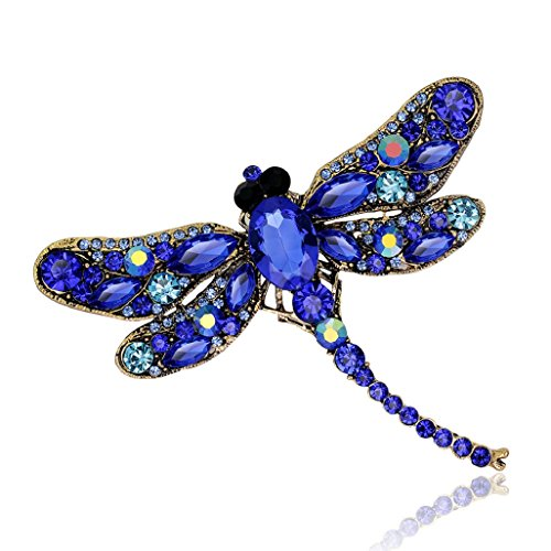 Top Cheer Vintage Style Rhinestone Crystal Dragonfly Brooch Pin Animal Broach Pins Jewelry (Blue)