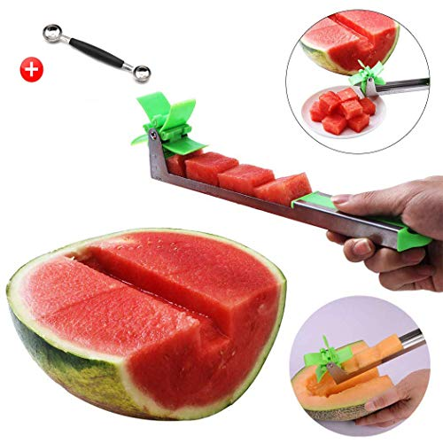 USiFar 2019 Upgrade Windmill Watermelon Cutter - Premium Stainless Steel Watermelon Slicer - Creative Cutter Knife Fruit Tools Kitchen Gadgets