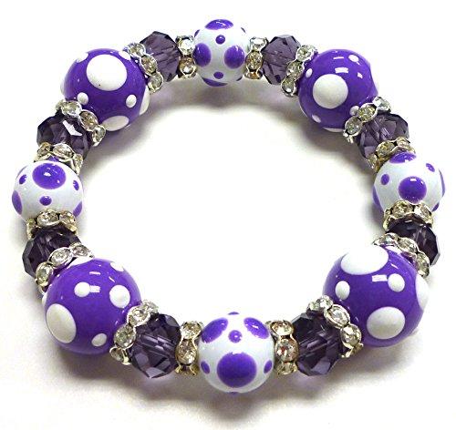 Linpeng PD-06 Fiona Hand Painted Polka Dots Glass Beads Stretch Bracelet