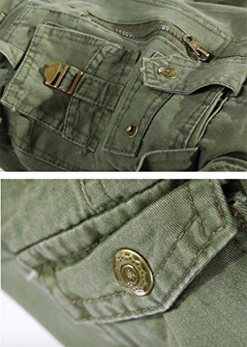 Pantalons Elonglin Multi Poches Combat De Vert Travail Vintage Homme Style Militaire Cargo qrYrptf