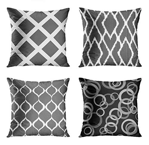 ArtSocket Set of 4 Throw Pillow Covers Striped Modern Charcoal Gray and White Criss Cross Stripes Dark Ikat Diamonds Decorative Pillow Cases Home Decor Square 20x20 Inches Pillowcases