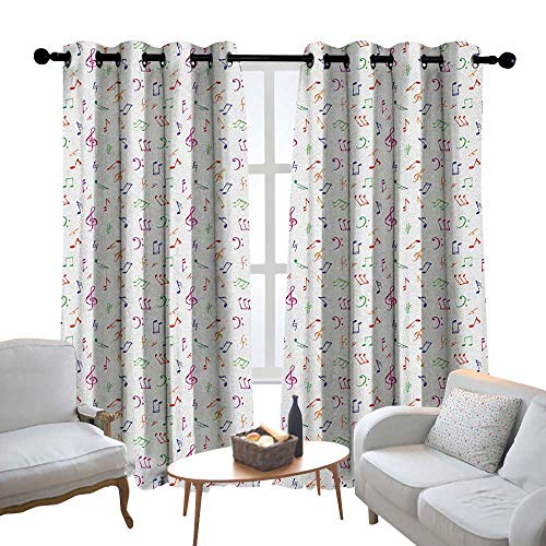 """Curtains Music,Watercolor Icons Sonic Beats Vocals Dynamic Cultural Activity Concert Harmony Artwork, Multicolor,Treatments Thermal Insulated Light Blocking Drapes Back for Bedroom 52""""x72"""""""