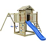 vidaXL Wooden Playhouse with Ladder Slide Swings Garden Outdoor Kids Fun 557x280x271 cm