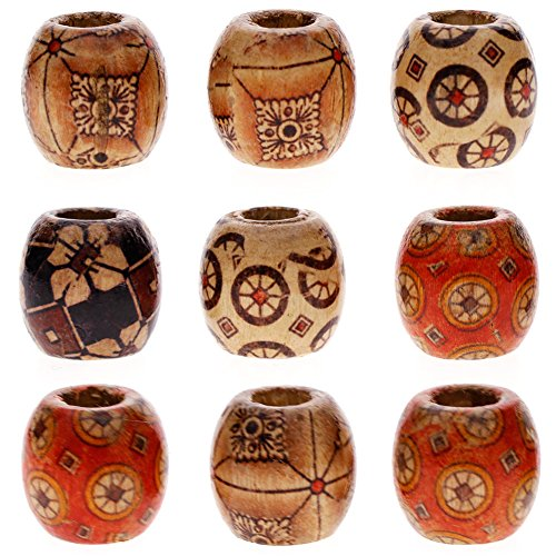 Hand Painted Wood Beads (KeyZone Wholesale 100pcs 12mm Mixed Painted Drum Wood Spacer Beads Wooden Beads for DIY Jewelry Making Hair Accessories)