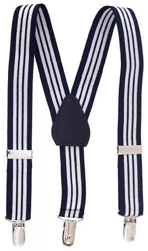 Sportoli Kids and Baby Adjustable Elastic Solid Color Wedding Suspenders - Black-White Stripes, 30