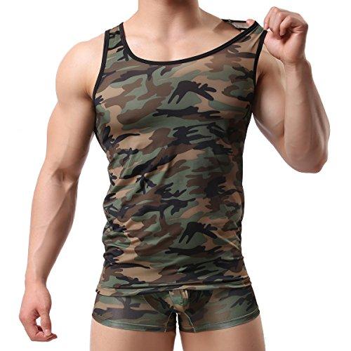 Men s Camouflage Undershirt Vest Tank Top Gym Sleeveless Shirts Jersey(M)